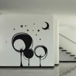 Абстрактни дървета в нощта - декорация за стена