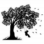 Дърво с момче на люлка - декорация за стена