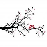 Клонка с влюбени птички - стикер за любовта