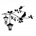 Стикер за декорация - Клонка с птички и фенери