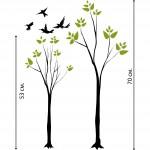 Дървета с птички - стикер за декорация
