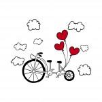 Колело с балони - любовен стикер