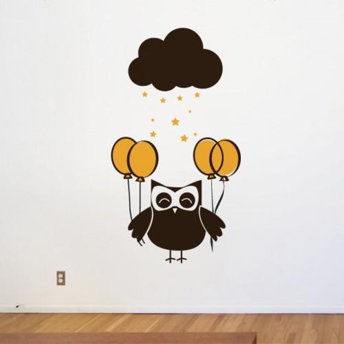 Бухалче с  балони - стикери за дом