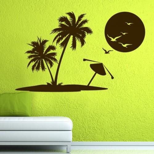 Декоративен стикер - Плаж и палми