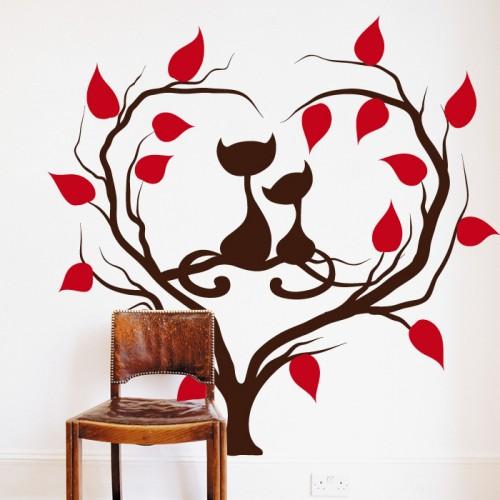 Стикер влюбени котета на дърво