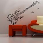 Китара от ноти - стикер за стая